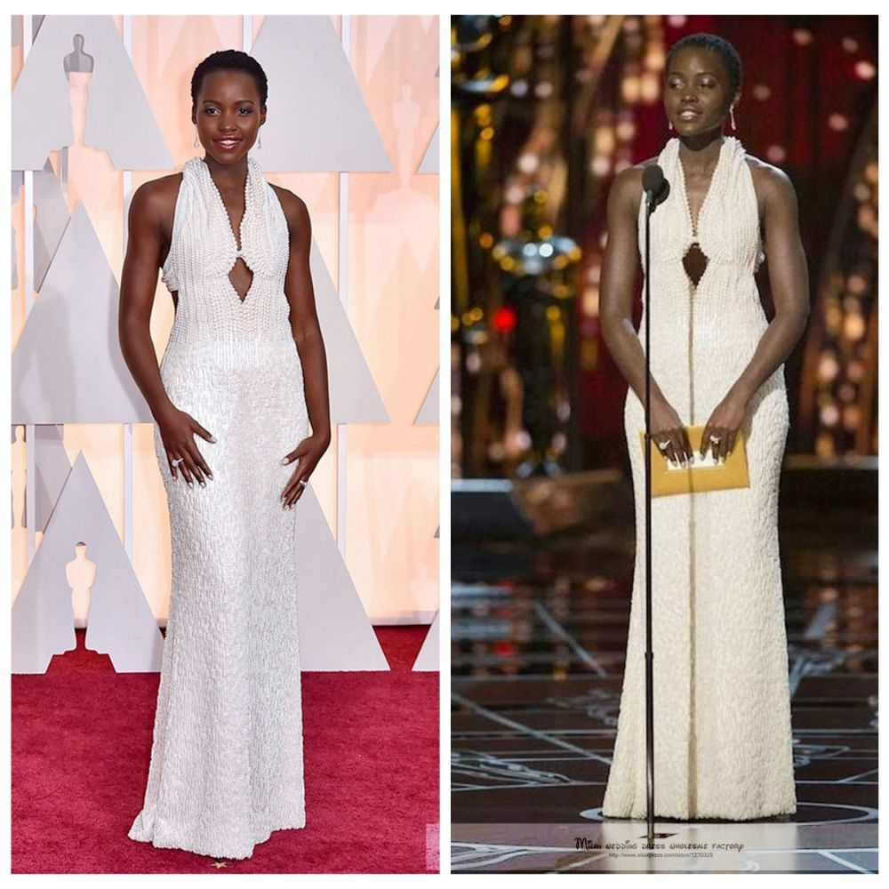 Custom celebrity dresses new lupita nyong uo white pearl costly