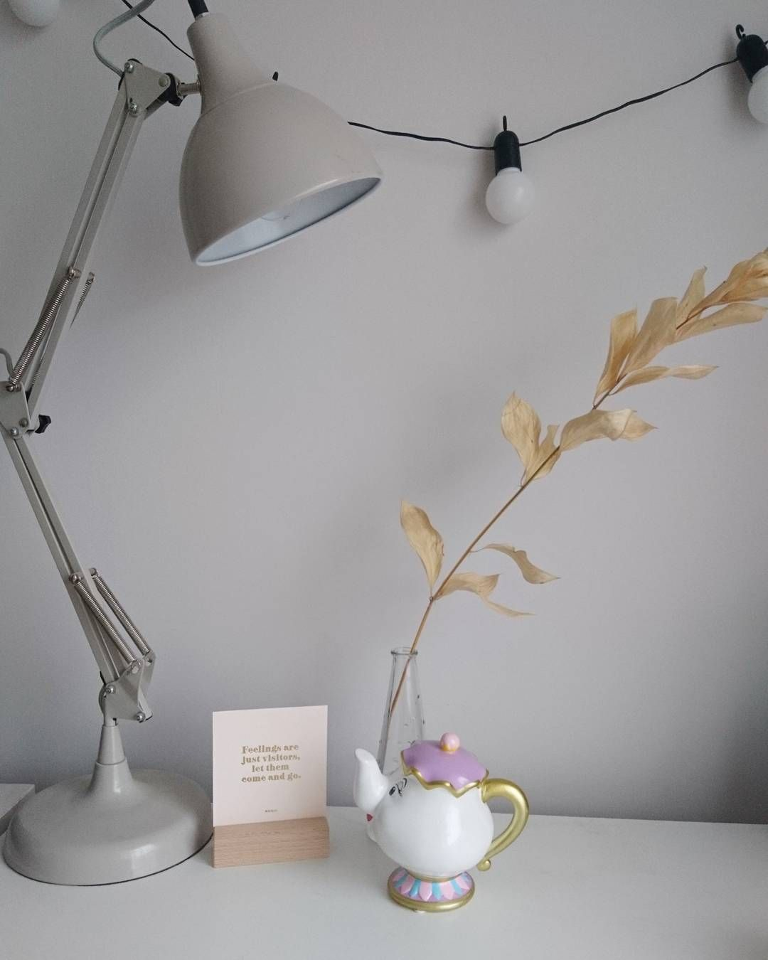 Me and Mrs. Potts just wanted to say thanks for all your tips for pimping out my desk space last week. Especially @juliancharlesuk and your #blankcanvas advice. I've added a lovely @kikki.k motivational print and hung some @festivelightsltd festoon lights so far. Got lots on order too! Can't wait to share once they arrive.   #officemakeover #officegoals #styleonmytable #lovemyrenovation #nestandflourish #aquietstyle #interiors #decoration #renovation #design #home #warmth #renovationlife…