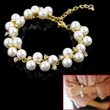 New Fashion Cleary Crystal Elegant Pearl Bracelet 2 Colors
