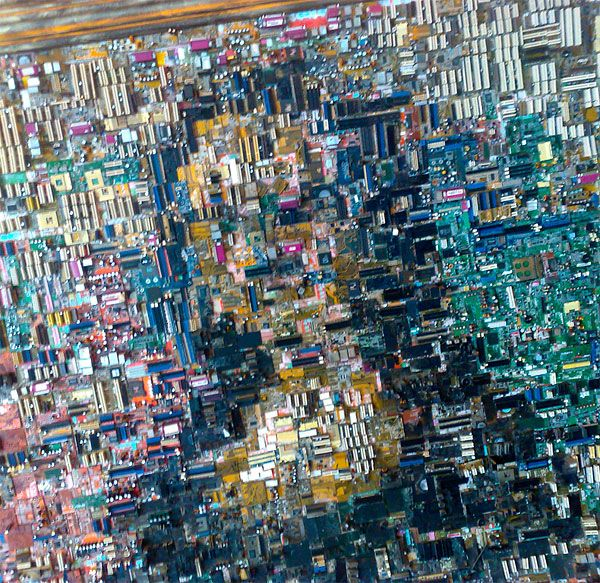 artist who makes collages out of computer parts - Google Search