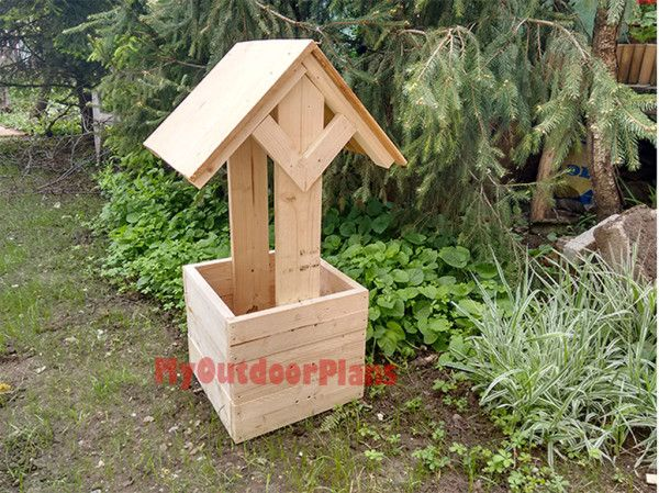 How To Build A Wishing Well Planter Free Outdoor Plans Diy Shed Wooden Playhouse Bbq Woodworking Proj Woodworking Plans Free Diy Plans Diy Wishing Wells