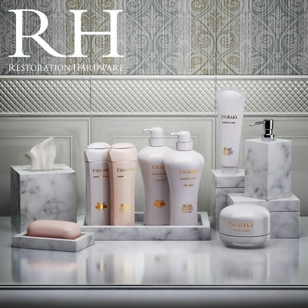 Set For Restoration Hardware Bathroom With Shampoos And Plates