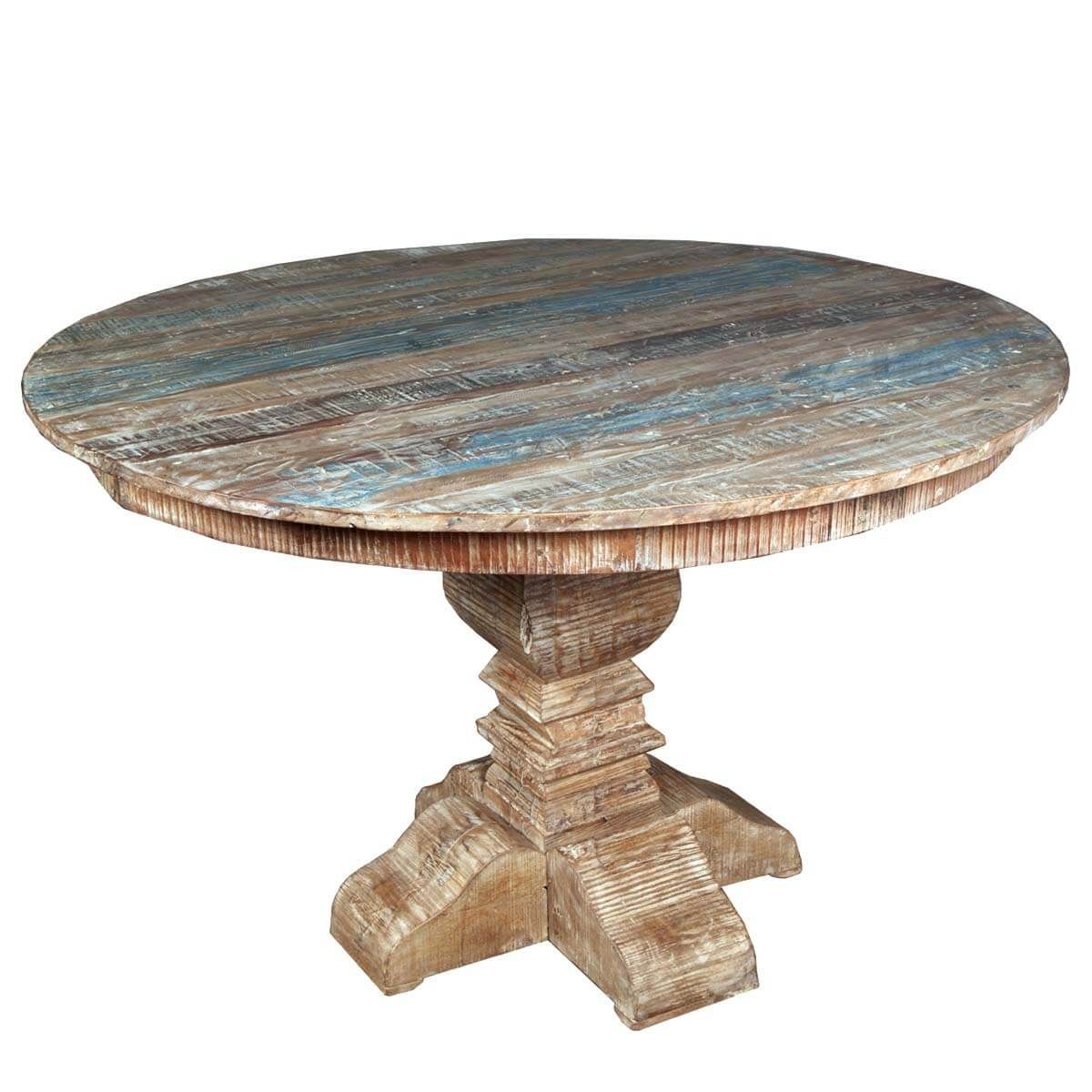 Pin By Eddie Matheney On Diy Round Wood Dining Tables Reclaimed Wood Round Dining Table Rustic Round Dining Table Distressed Dining Table