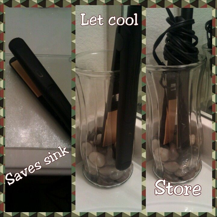 Cool way to store your flat irons. Use a Dollar Store glass cutting board to rest your curling irons or flat irons on when in use. This will prevent burn marks on your sink or countertops. Instructions: Reuse a vase you have sitting around your home for storage, add decorative rocks or glass colored stones and you're done.