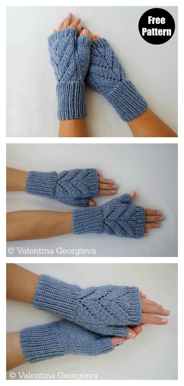 Leaves Fingerless Gloves Free Knitting Pattern