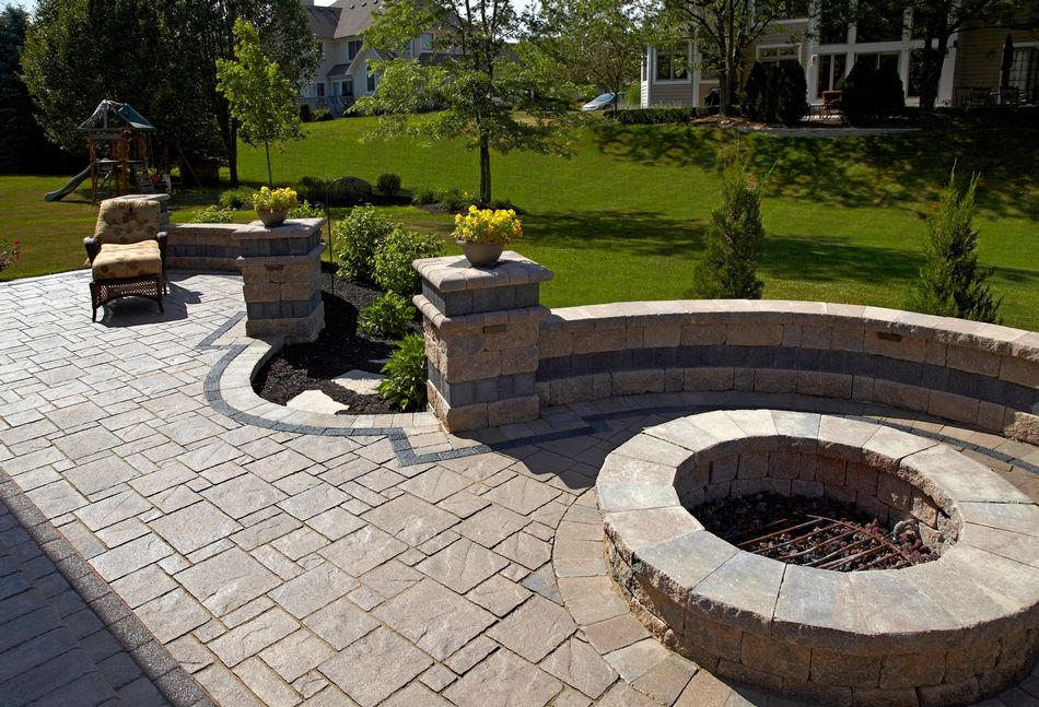 Brick Paver Patio for Home Brick fire pit with brick seating wall