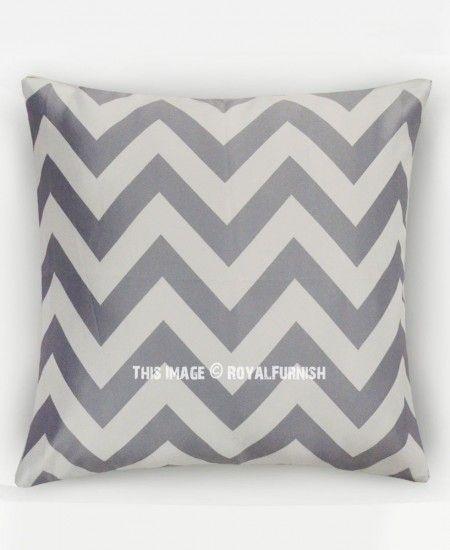 Grey Chevron Throw Pillow Cover