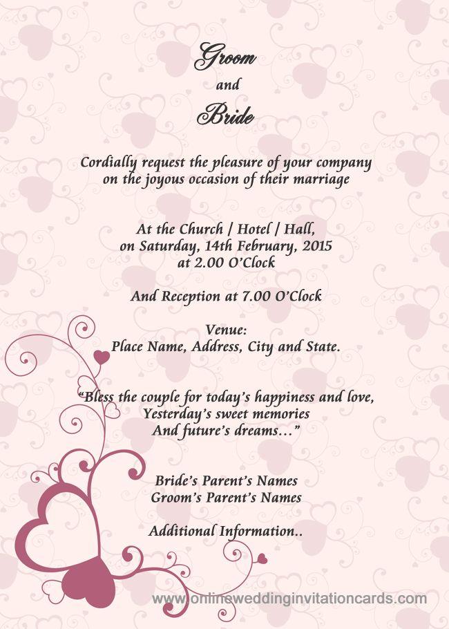 Sample Of Wedding Invitation Card Marriage Invitation Card