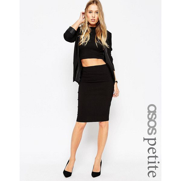 ASOS PETITE High Waisted Pencil Skirt ($32) ❤ liked on Polyvore featuring skirts, black, petite, high-waisted skirts, zipper skirt, high-waisted pencil skirts, petite pencil skirt and stretch skirts