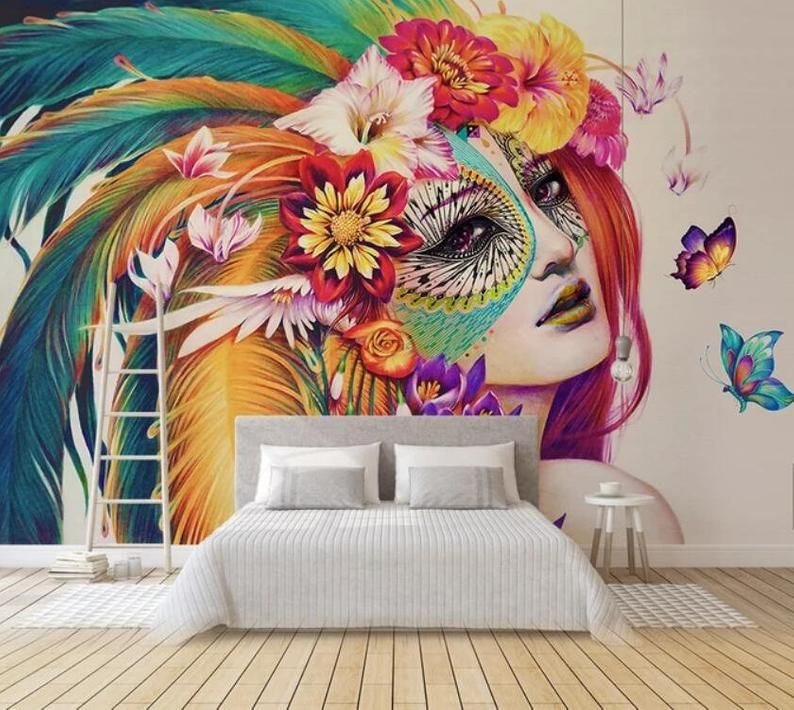 3d European Style Hand Painted Colorful Beautiful Wallpaper Removable Self Adhesive Wallpaper Wall Mural Vintage Art Peel And Stick Wallpaper Walls Bedroom Wall Painting Mural Wallpaper