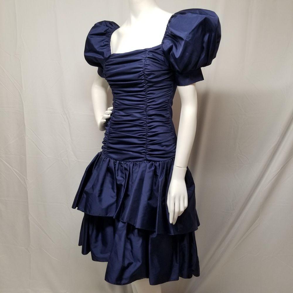 Vtg s prom dress zum zum deep purple ruched tiered hilo poofy
