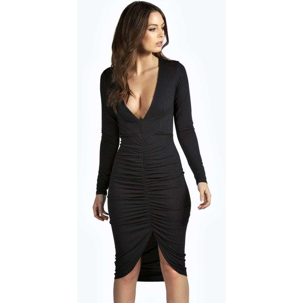 81edebf74c Boohoo Night Xanthe Plunge Front Rouched Midi Dress ( 35) ❤ liked on  Polyvore featuring dresses