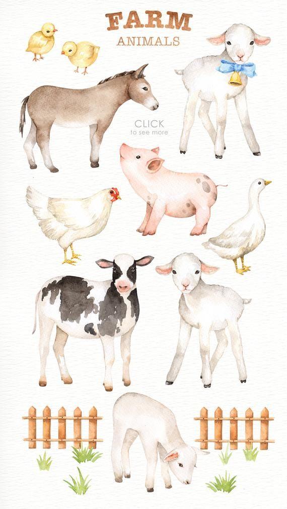 Animales de granja acuarela clipart, viveros impresiones, animales de granja vivero arte, viveros imprimibles, descarga instantánea, animales del bosque, arte de los niños