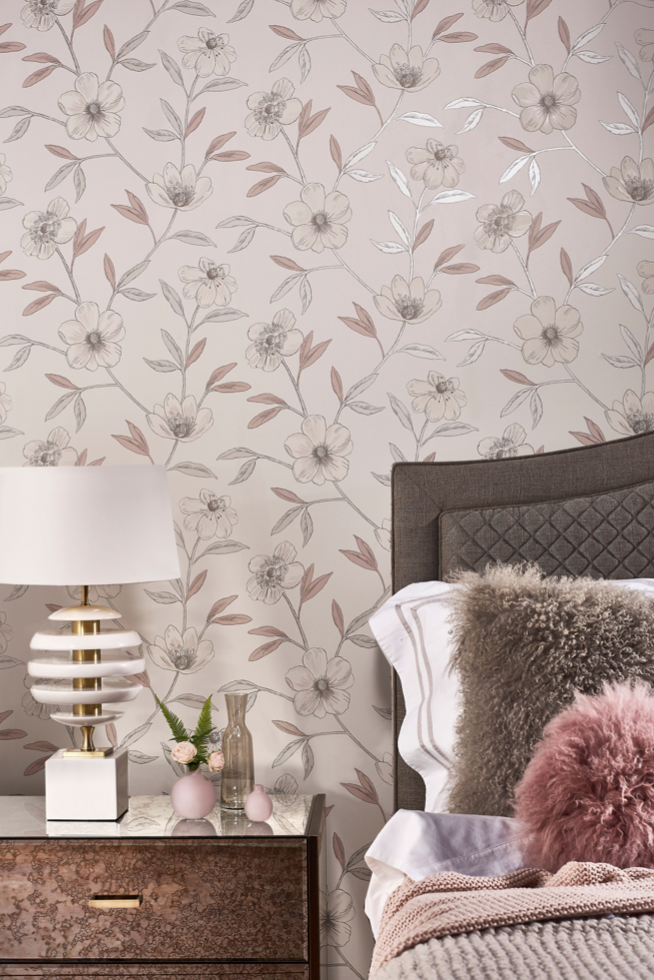 Wallpaper Design Prestigious Textiles Ambience Avery Rose Quartz