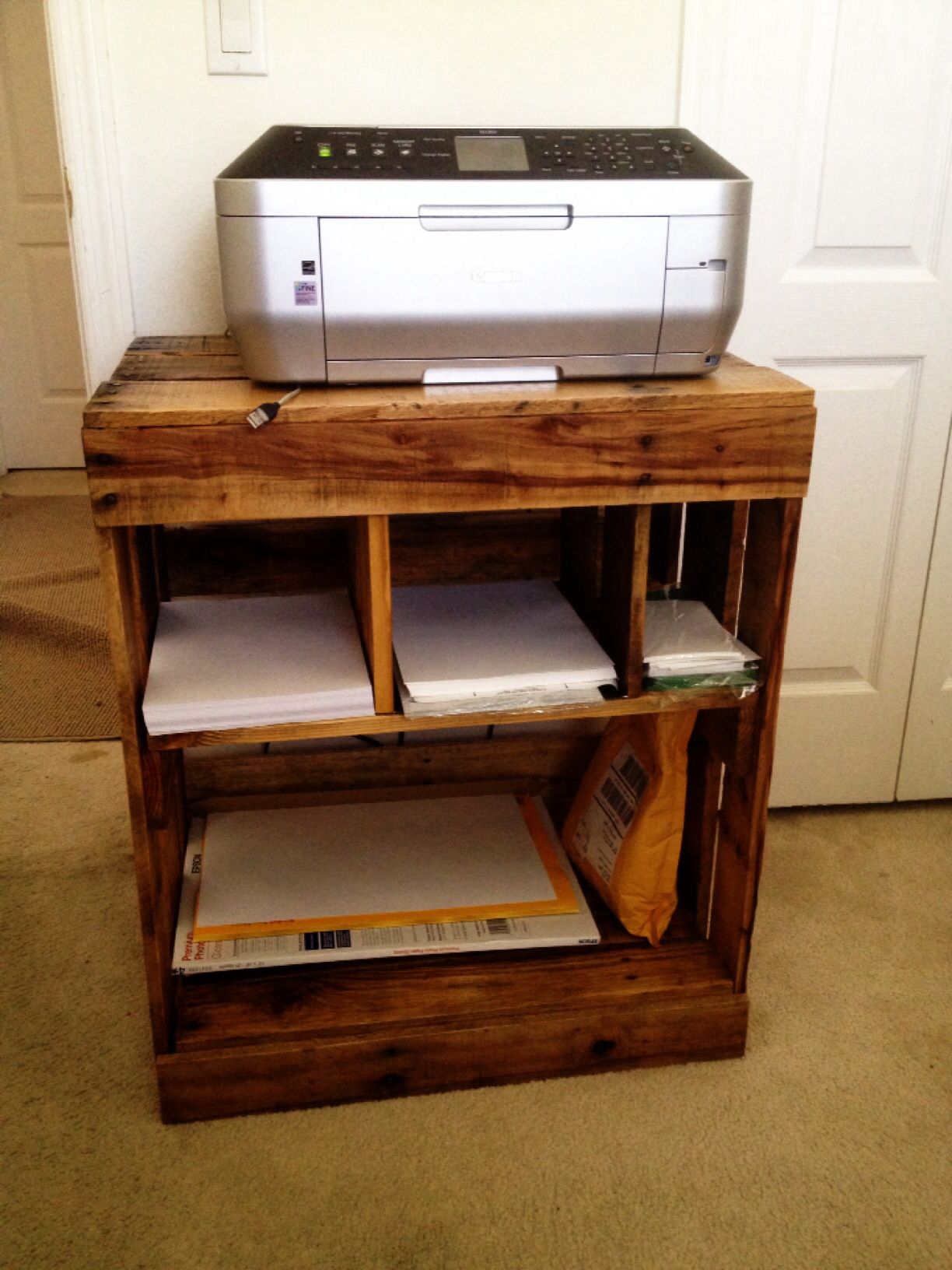 Pallet printer stand my husband made. | Pallet desks | Pinterest ...