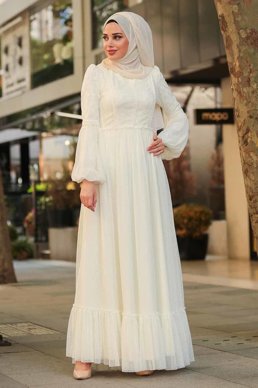 Tesetturlu Abiye Elbise Dantel Islemeli Ekru Tesettur Abiye Elbise 3890e Model Pakaian Hijab Pakaian Wanita Model Pakaian Muslim