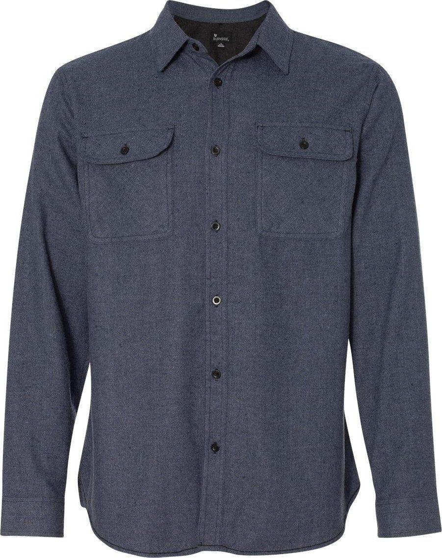 Flannel shirt jeans  Burnside Solid Long Sleeve Flannel ShirtB  Large  Denim
