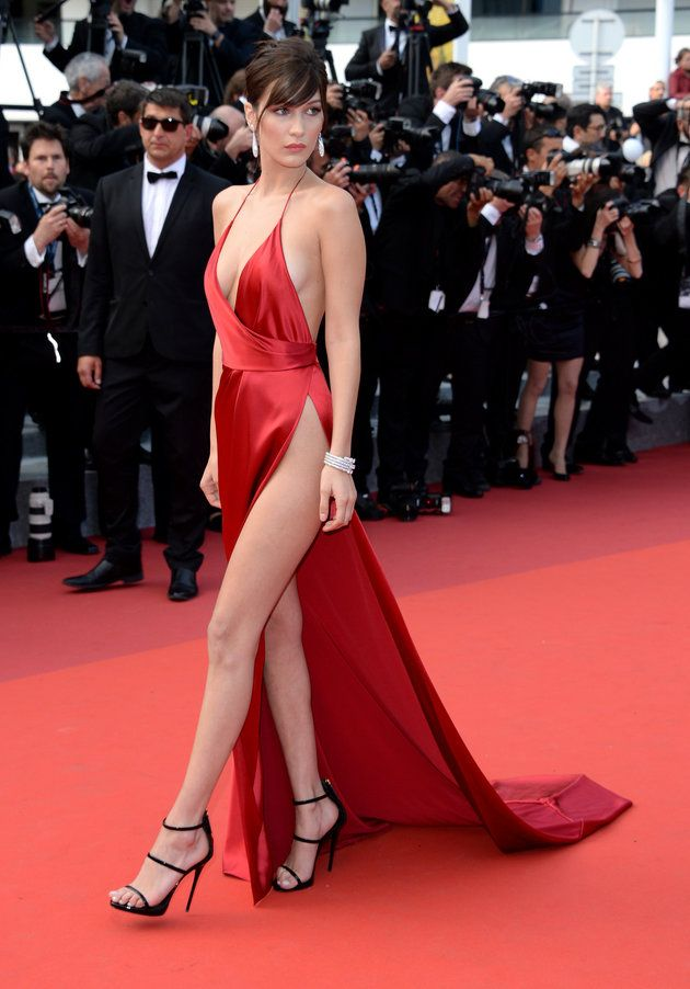 fdd5088e6874 Bella Hadid Wears A Giant Slit With A Tiny Bit Of Dress Attached ...