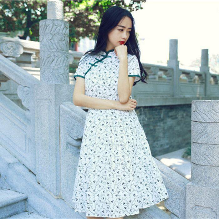 文艺清新复古中长裙棉麻印花A字裙