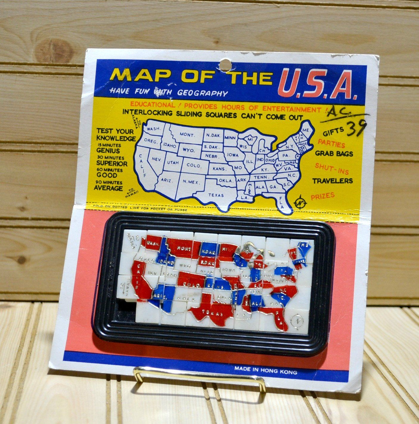 Vintage Map The USA Interlocking Sliding Squares Puzzle Hong Kong