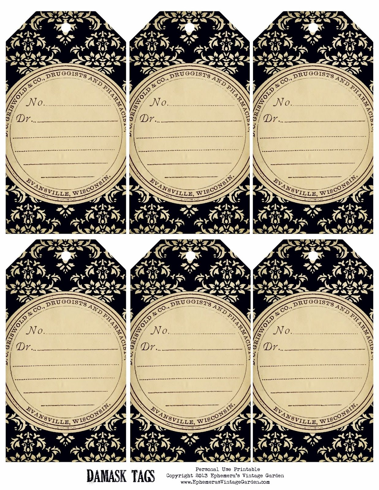 Ephemerasvintagegardenspot Weekly Free Printable Damask Tags Click On The Image Save