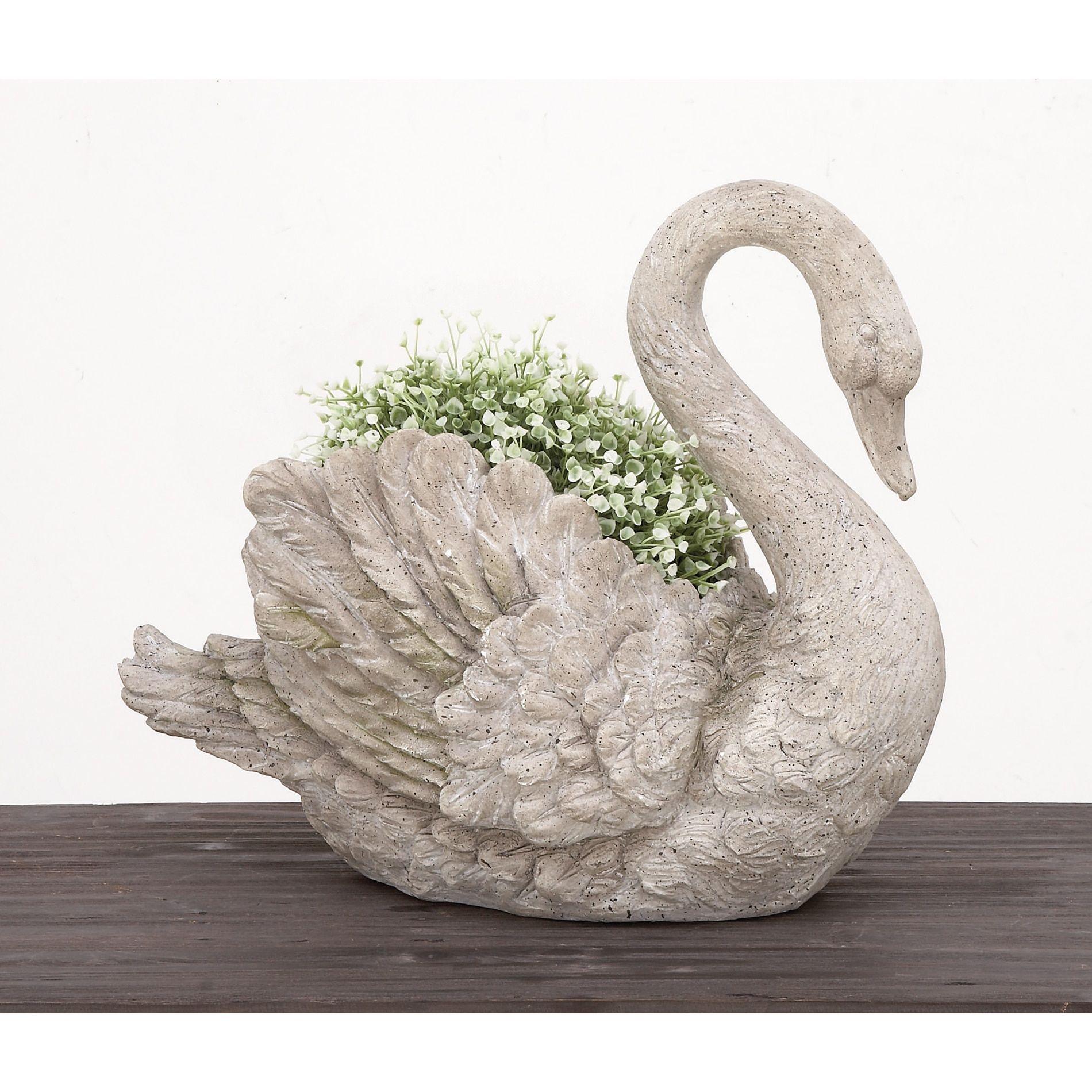 Urban Designs Swan Cast Grey Stone Planter Garden Decor Grey Swan