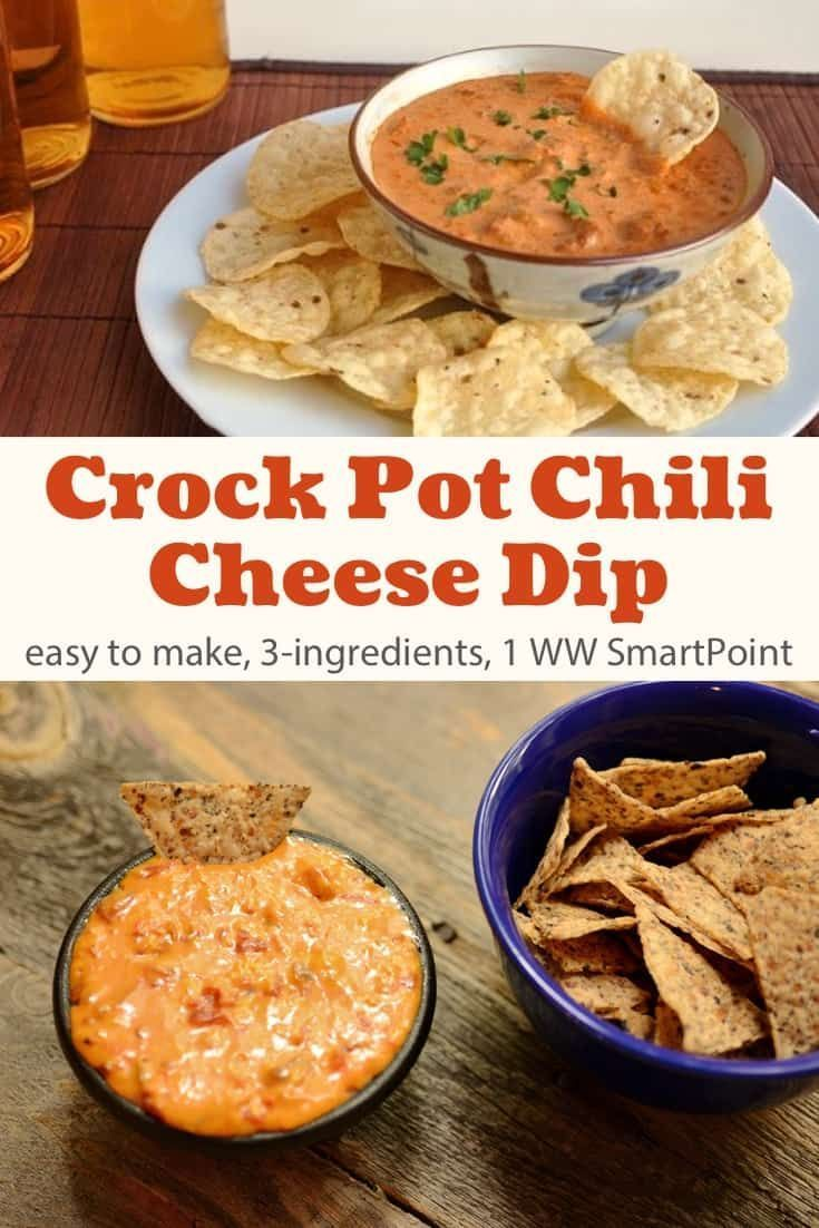 3-Ingredient Crock Pot Chili Cheese Dip Recipe | Simple Nourished Living #crockpotappetizers