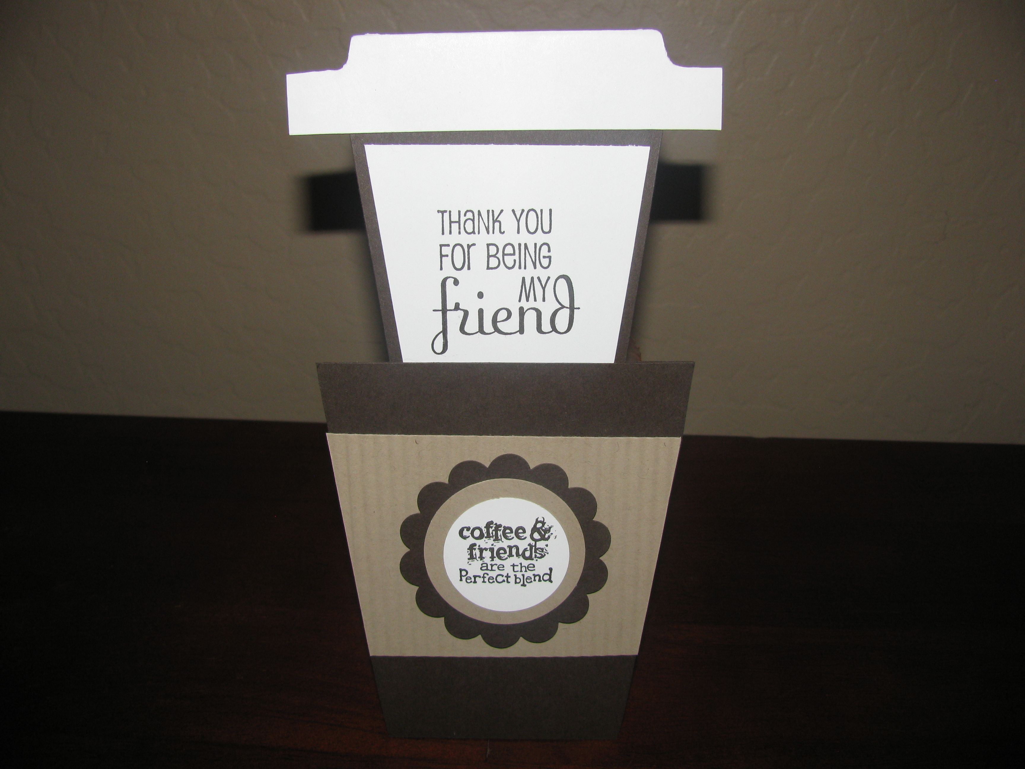 Coffee cup card (pull lid up to reveal message inside) - Created by AZ Girl Creations