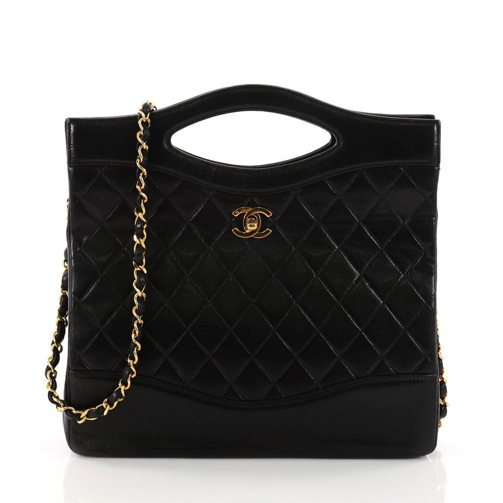 6bf3a6bebc86 Online Sale - Authentic Black Chanel Vintage Cut Out Chain Handle Bag  Quilted Lambskin Medium at Trendlee.com. Guaranteed genuine! Financing  available.