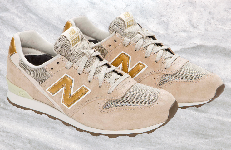new balance white and gold