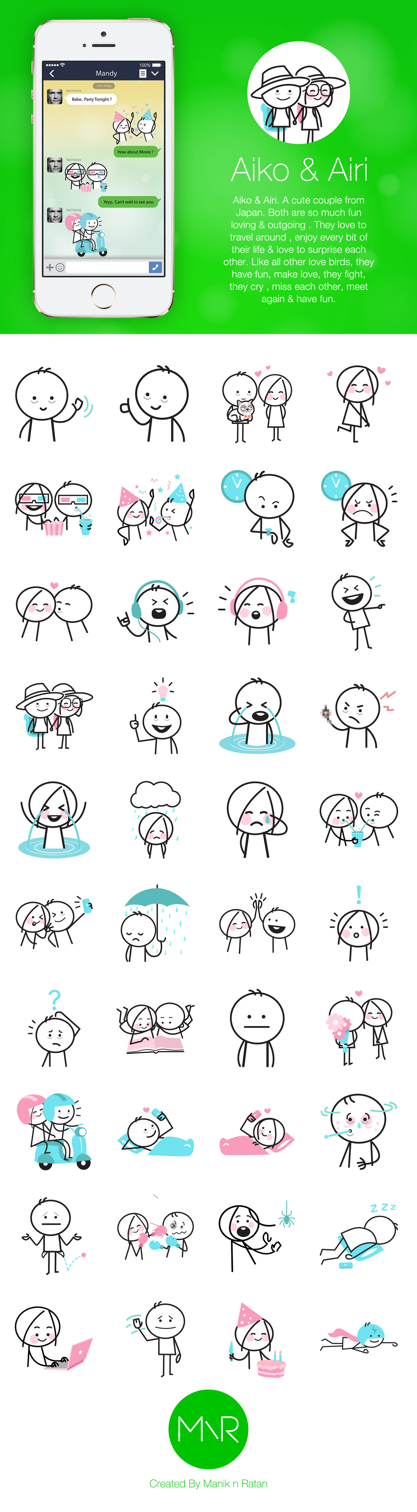 A sticker set made for Line Chat app. The characters for this ... for Couple Sticker Line  56bof