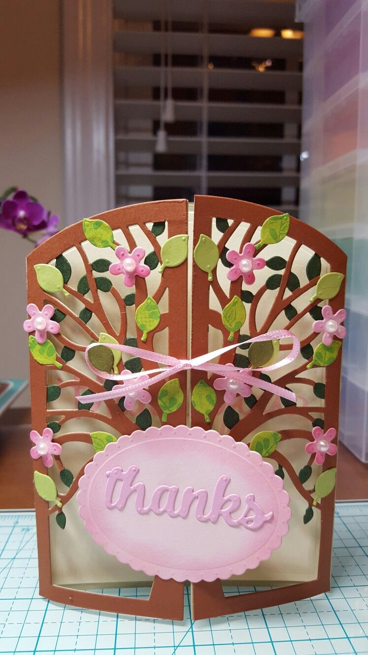 Double Opening Gate Thank You Card With Pearl Embellished Flowers