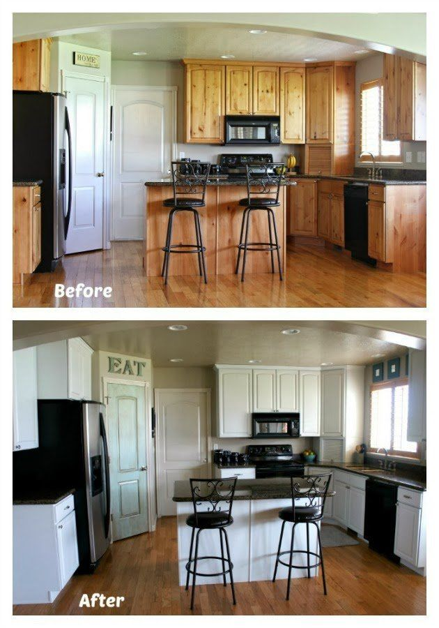 white painted kitchen cabinet reveal with before and after photos and video painting kitchen on kitchen cabinets painted before and after id=45950