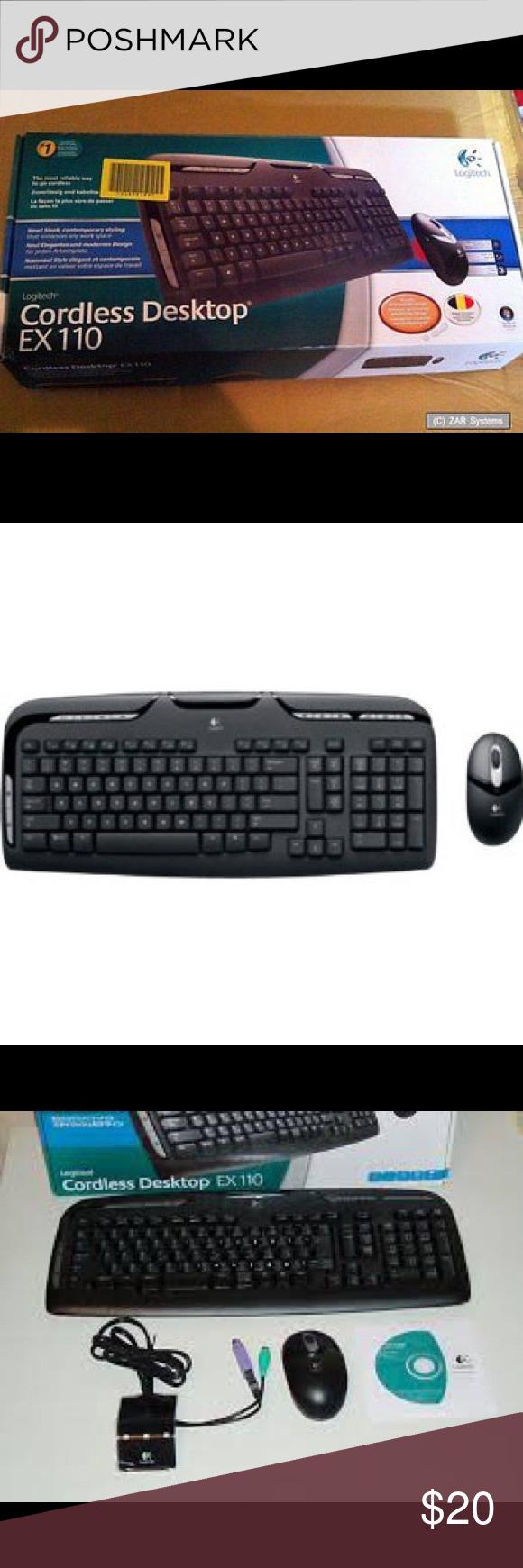 CORDLESS KEYBOARD W MOUSE LOGITECH EX110 NIB Cordless Desktop Keyboard