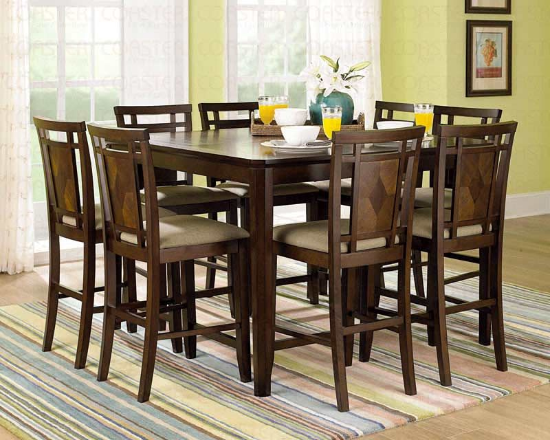 9 Piece Dark Solid Wood Counter Height Pub Set Table Chair Dining Kitchen Room Ebay Dining Table With Storage Dining Table In Kitchen Square Dining Tables