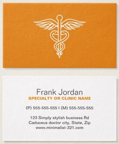 Modern Minimalist Orange Medical Doctor Caduceus Business