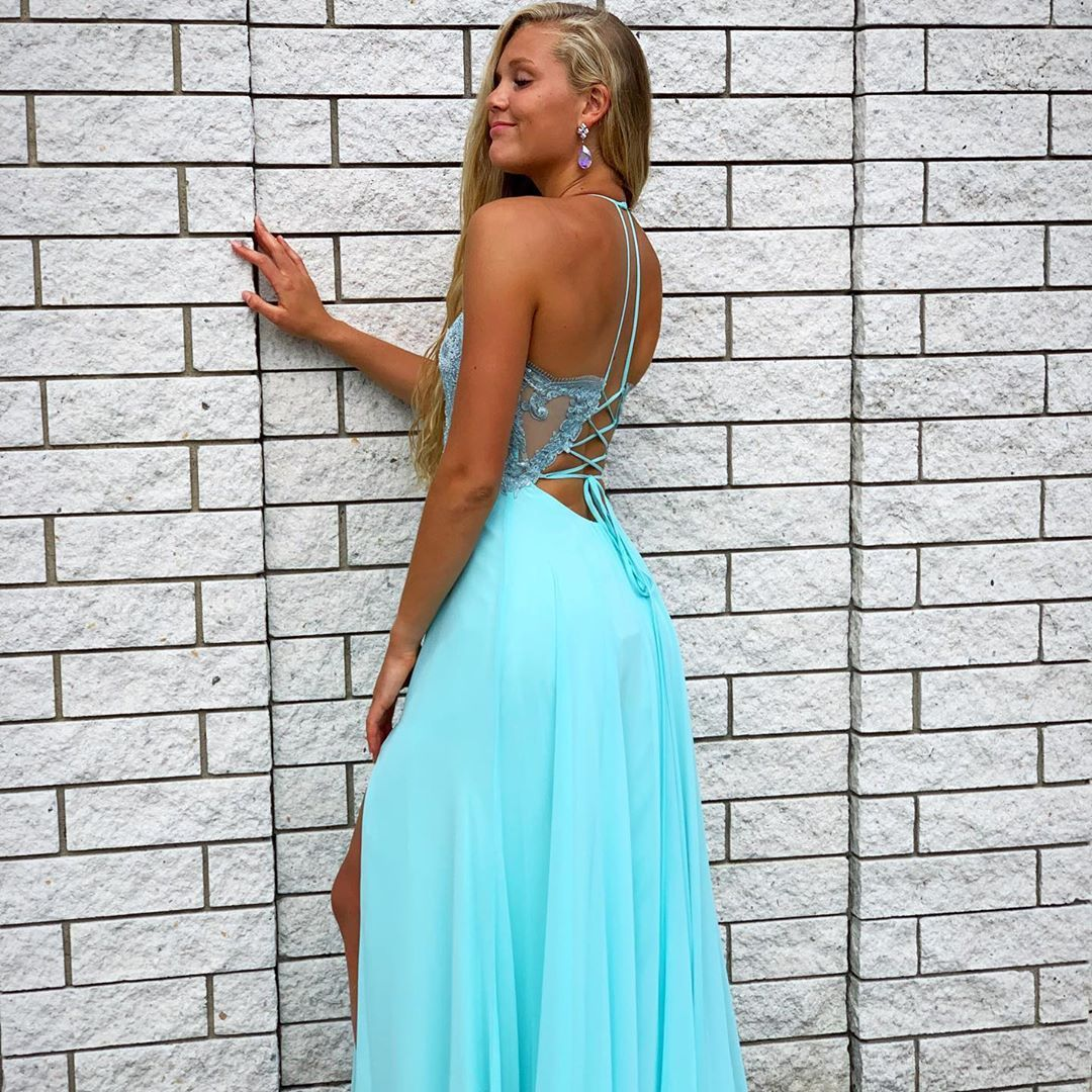 "GLITTERATI STYLE on Instagram: ""☀️In a summer state of mind!☀️ . . #prom #pageant #sweet16 #bridesmaiddress #weddingguest #bluevibes #blue #laceupback #details #gorgeous…"""