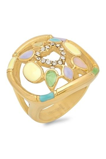 Multicolor Crystal Heart Ring by HMY Jewelry on @HauteLook