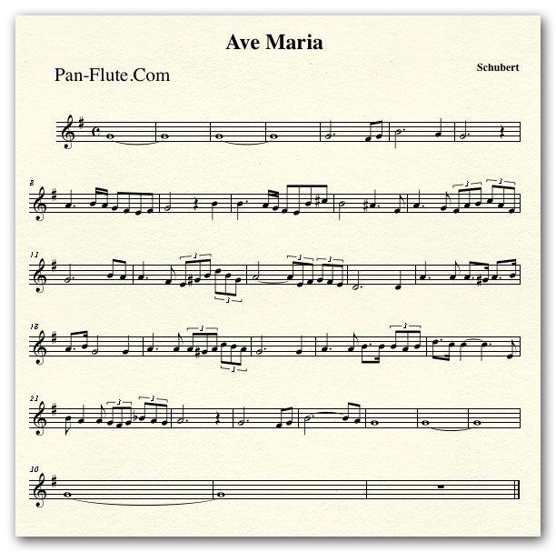 Schubert Ave Maria Sheet Music At Pan Flute Pan Flute Music