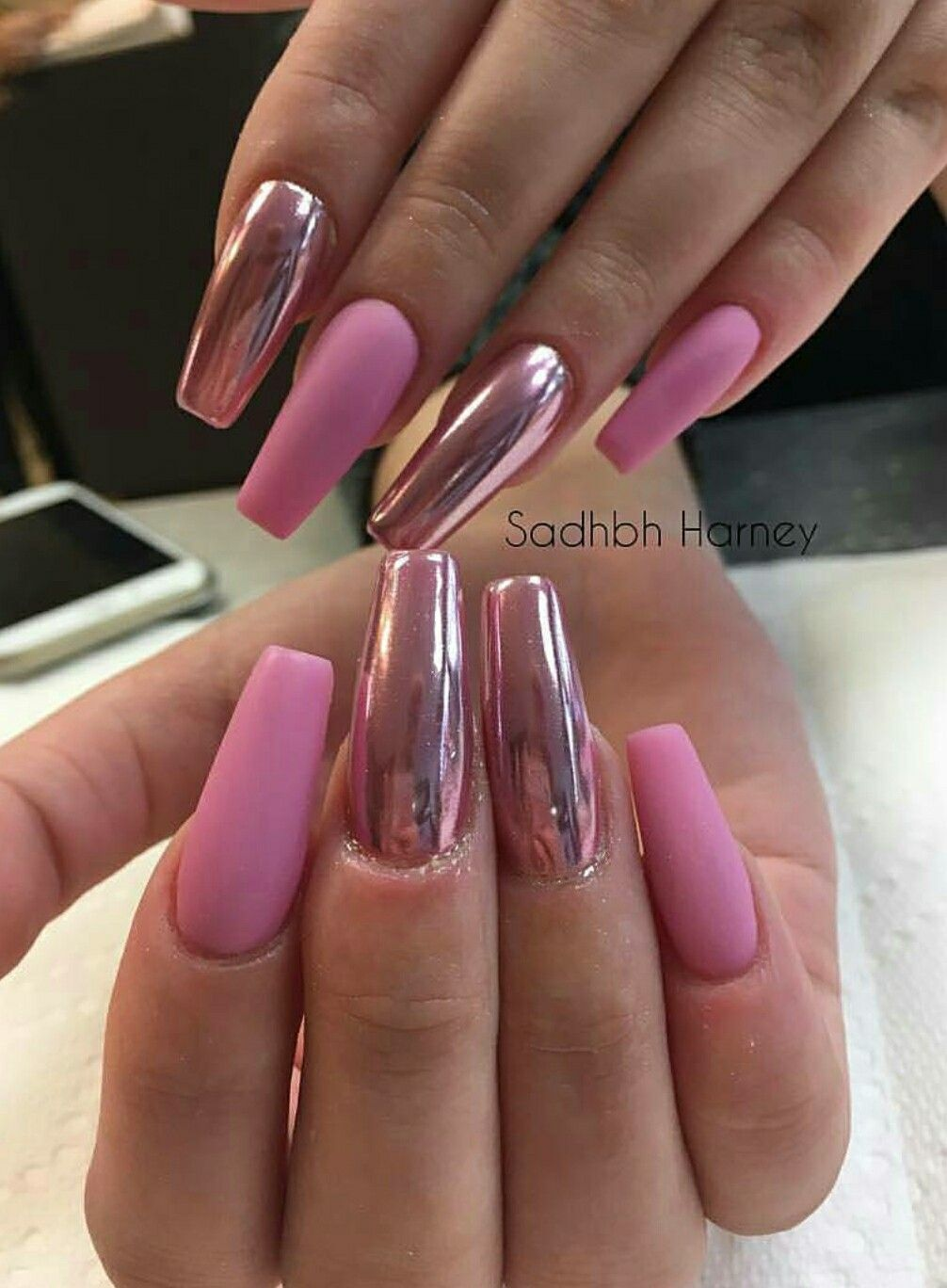 Long Square Nails Matte Chrome Pink Acrylic