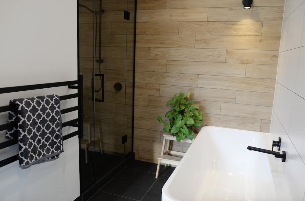 wooden tile, black tapware, bathroom, deavoll construction