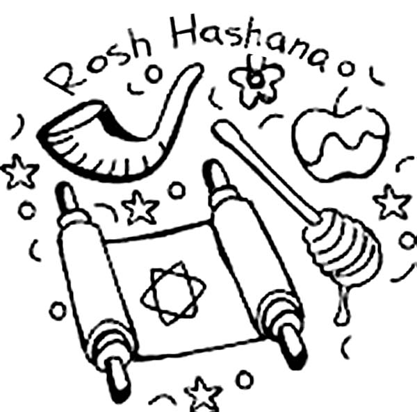 Jewish Holiday Rosh Hashanah Coloring Page Download Print Online Coloring Pages For Free Color Nimbus Online Coloring Pages Coloring Pages Rosh Hashanah