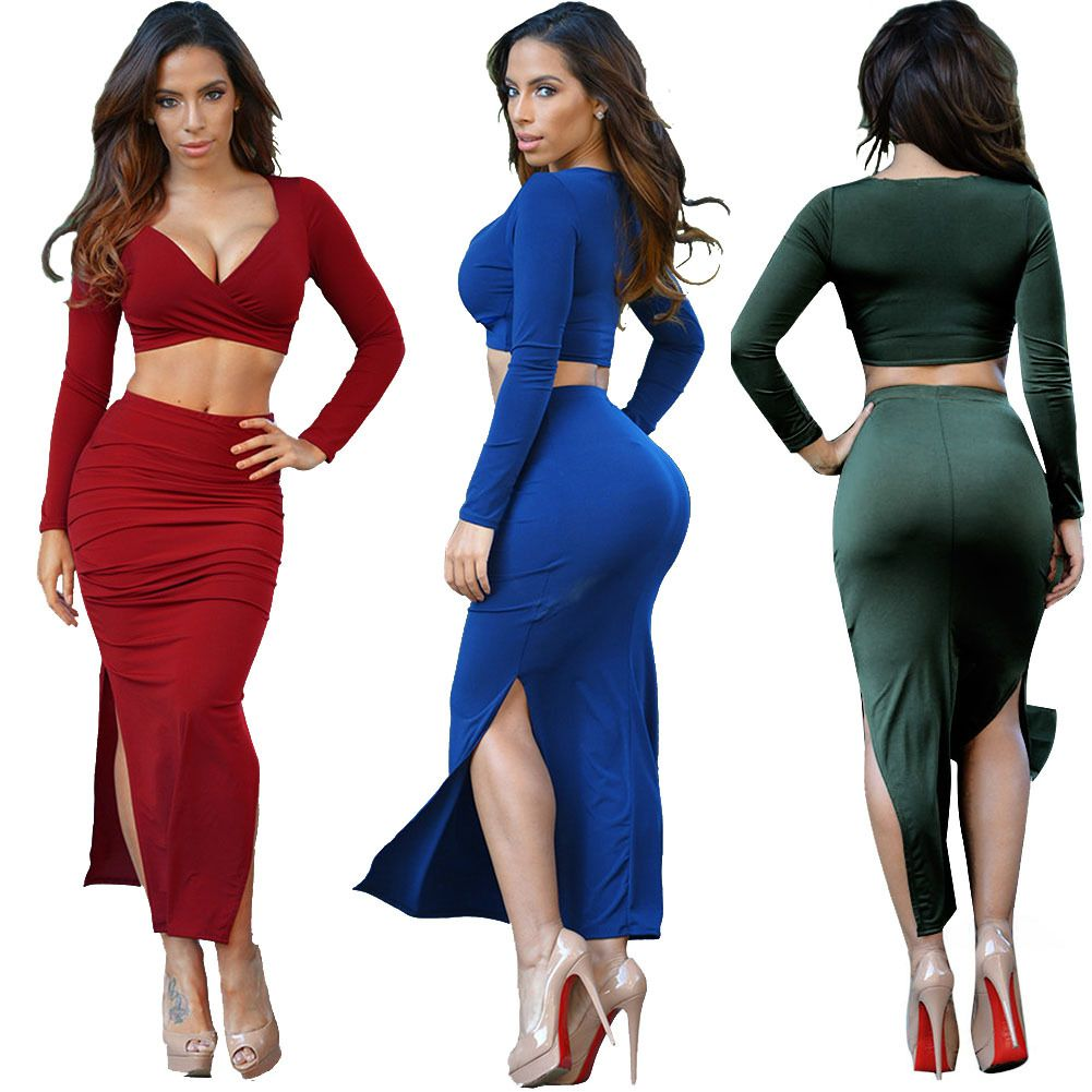 WOMEN TWO PIECE DEEP V OUTFITS AUTUMN WINTER BANDAGE BODYCON CASUAL ELASTIC CLOTHING 2 PIECE SET PARTY DRESS