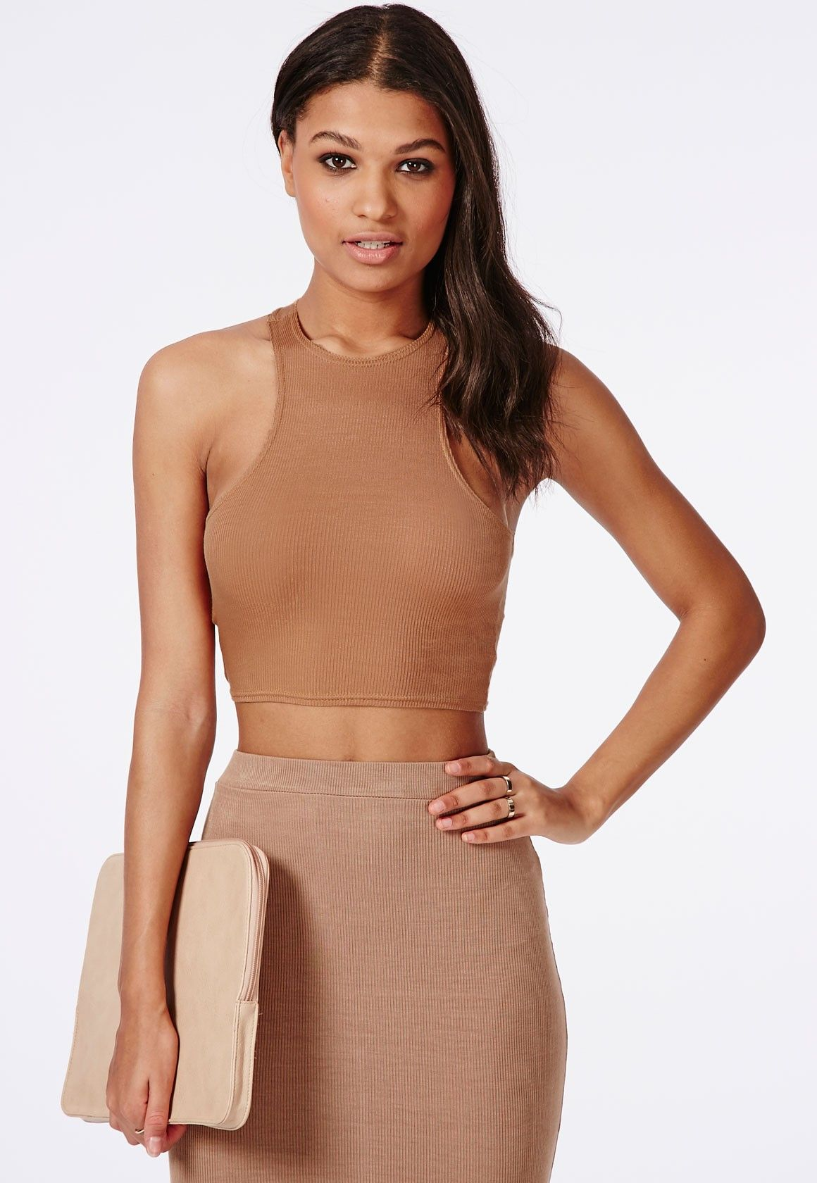 d3d701107d9a2a Missguided - Racer Back Ribbed Crop Top Camel   _Warobe_   Ribbed ...
