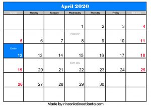 Events Calendar 2020.April 2020 Calendar With Holidays In 2019 Printable