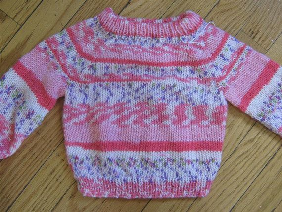 50751680b Lightweight fair isle and stripe hand knit baby sweater - 0 - 6 ...