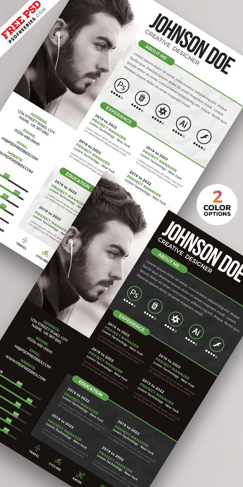 PSD Creative Resume Design Templates Graphic design