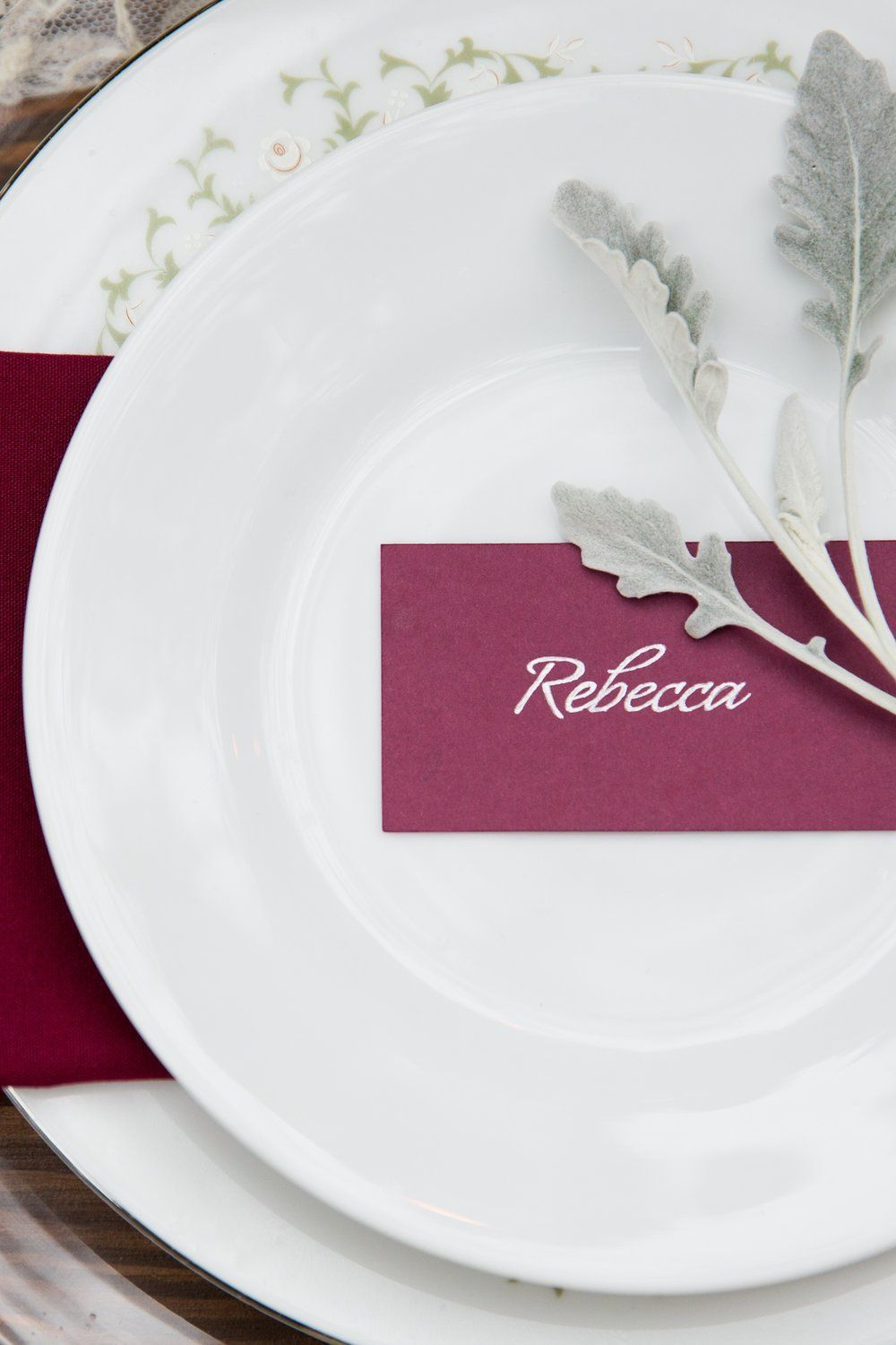 Burgundy Wedding Details Burgundy Escort Cards Silver Ink