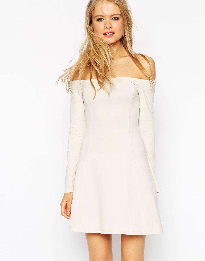 Asos skater dress with seamed detail and flared sleeves