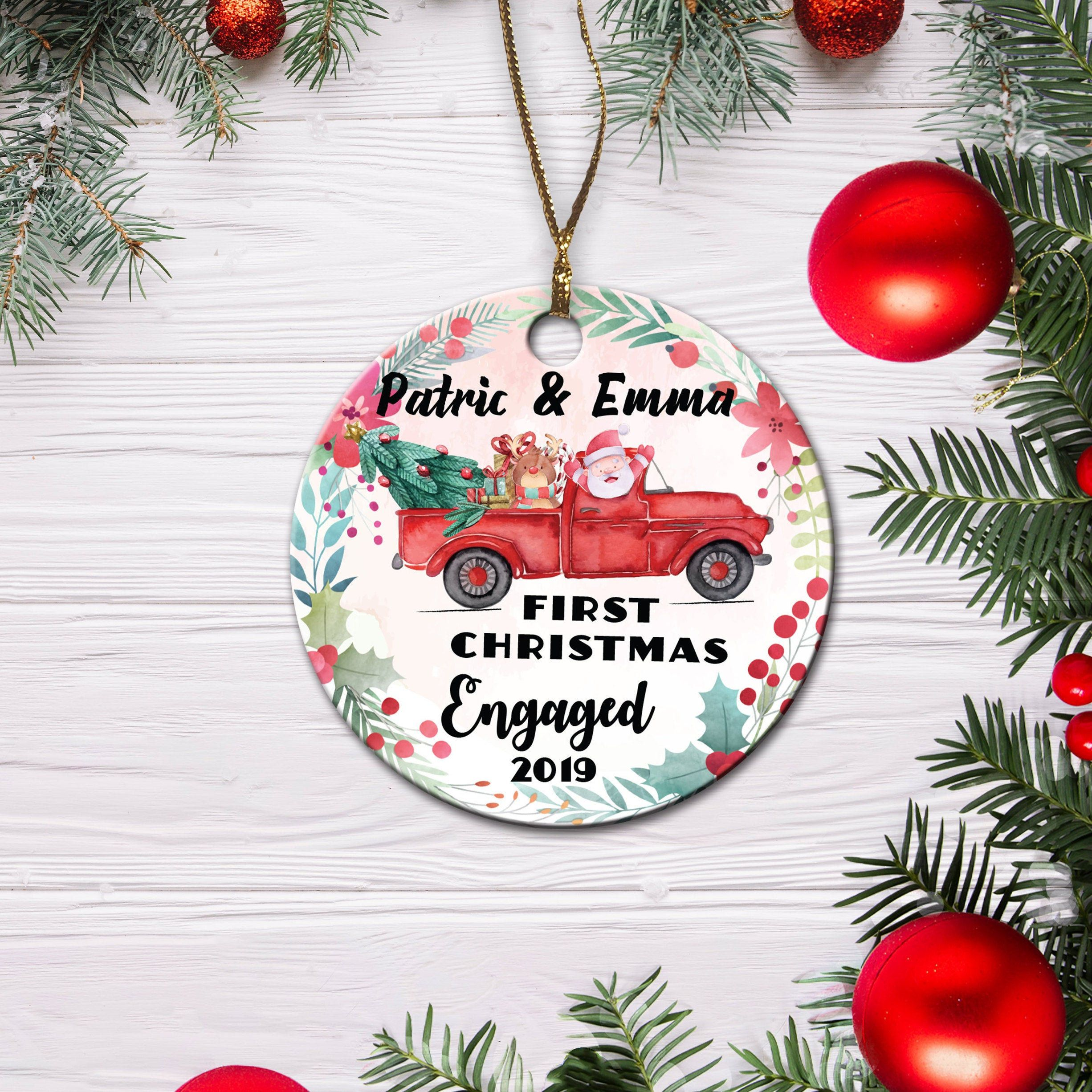 Our First Christmas Engaged Ornament Personalized Etsy Personalized Christmas Ornaments Engagement Ornaments Personalized Christmas